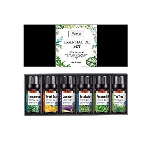 Set de aceites esenciales, 6 x 10 ml 100% Natural Puro...
